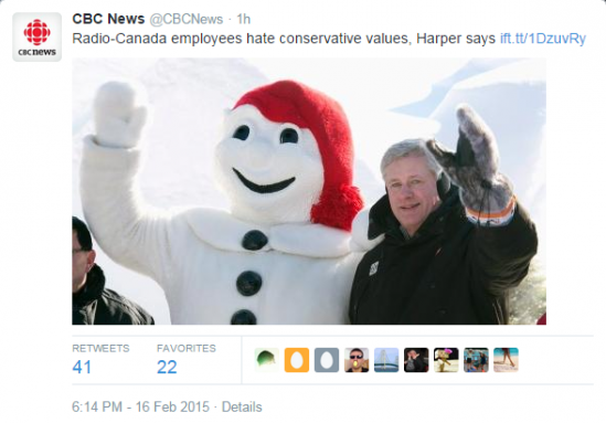 Radio CAnada is the French Language Radio service of the CBC. If they hate Stephen Harper's values, they have good reason to. He's trying to unfund and shut them down. A lot of Canadians Hate Stepen Harper. He's a Fascist dictator pretending to be a 21st century nice guy. Nice guy He is NOT!
