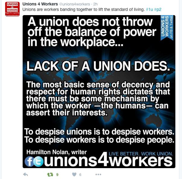 Unions 4 Workers tweet.