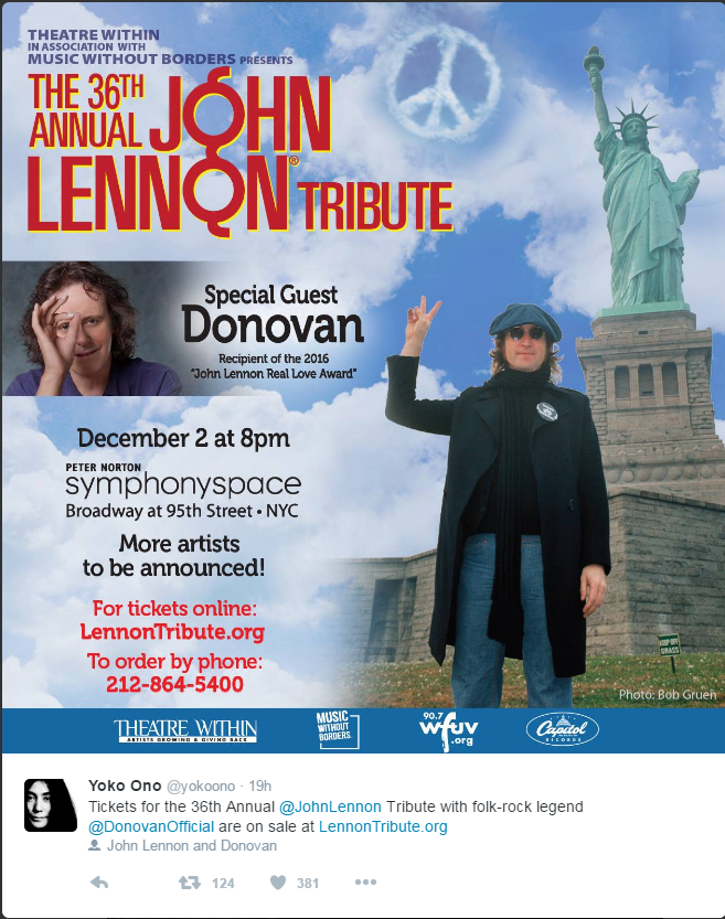 Annual John Lennon Concert announcement.