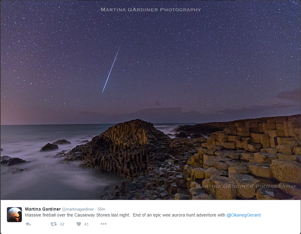 Shooting star over the giants' causeway.