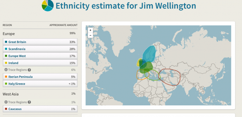 DNA Ethnicity Map.