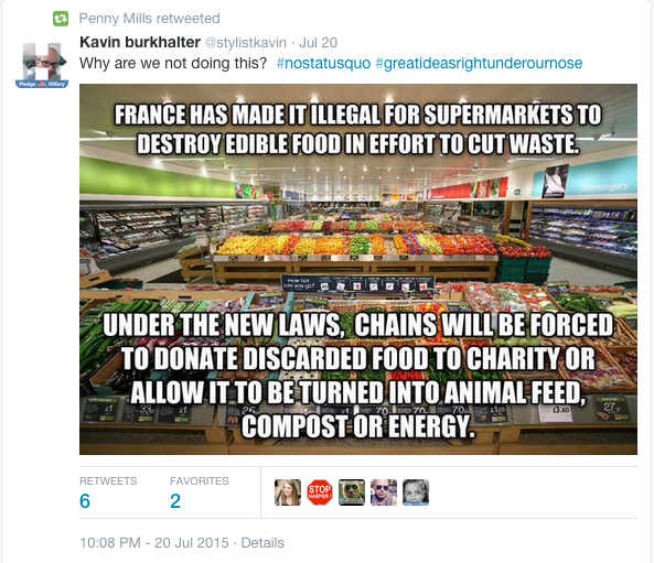 Tweet about food laws in France
