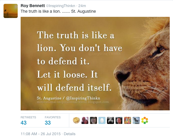 Photo of a lion with inspiring words printed to its left.