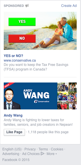 Facebook ads paid for by the Conservative Party.