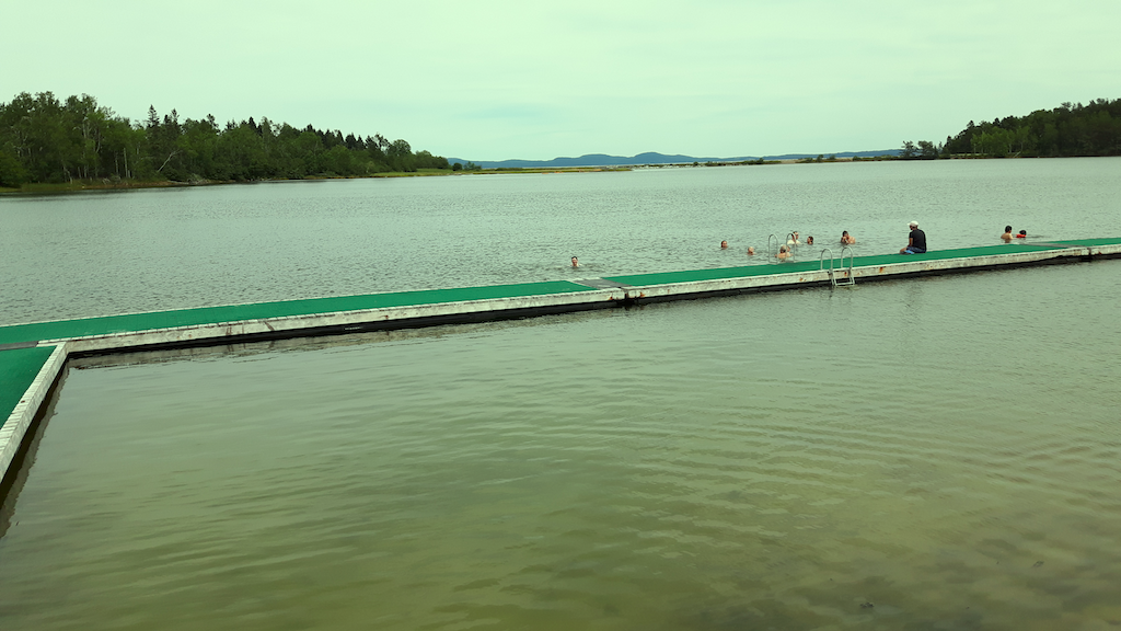 Greenish photo of a dock and distant people swimming.
