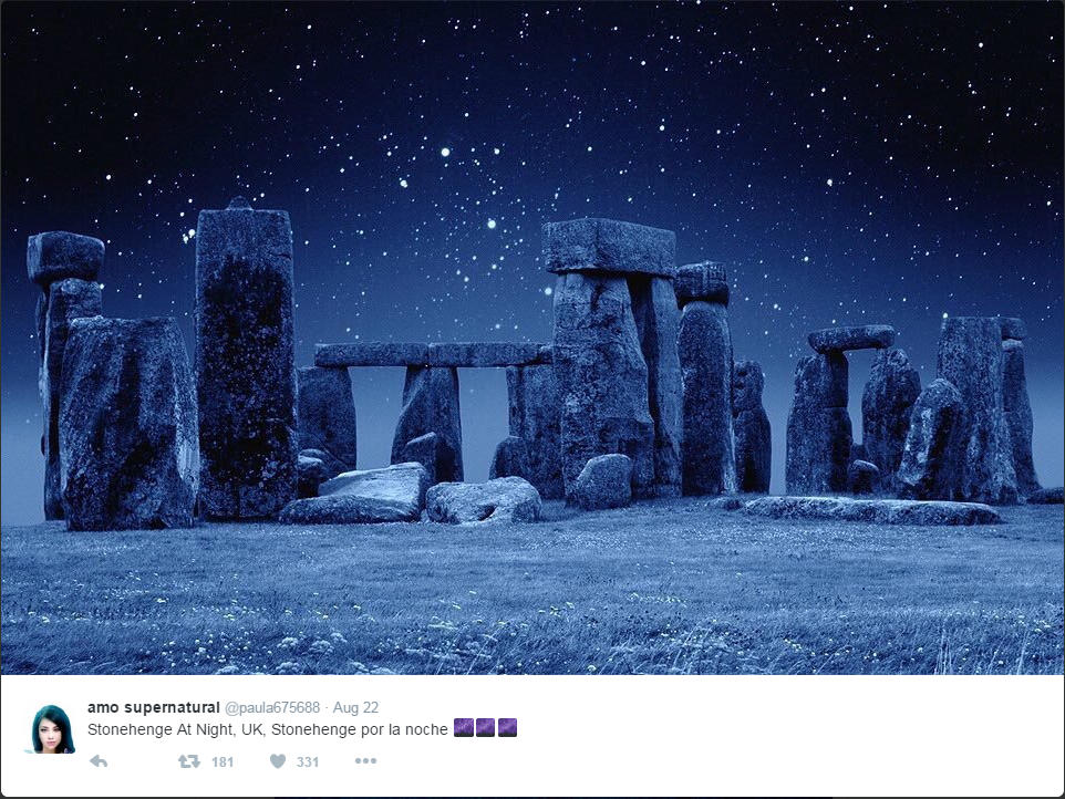 Stonehenge at night.