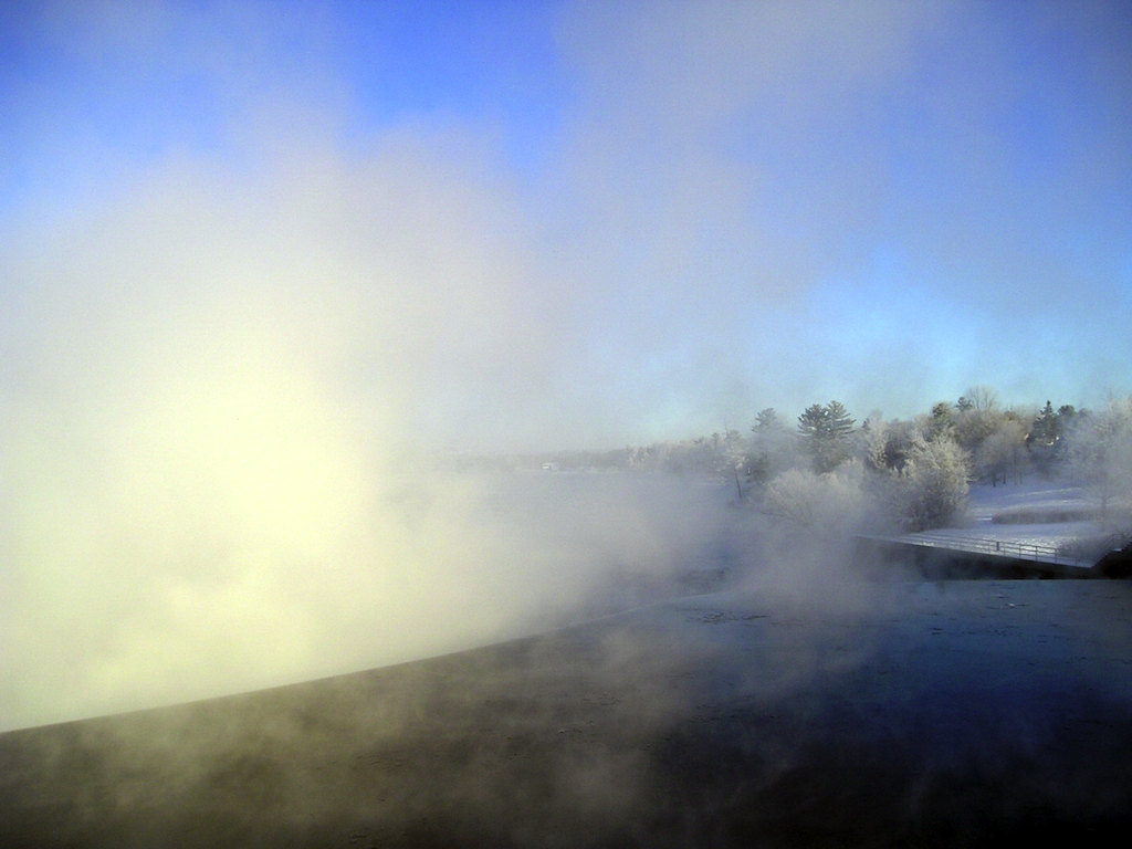 Weire on Madawaska River, Arnprior, ONtario on a foggy January Morning in 2008