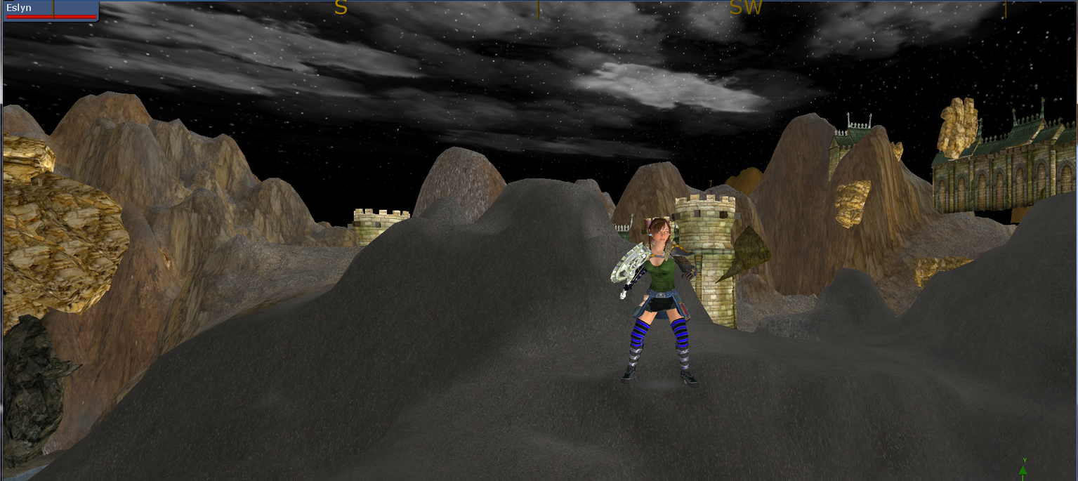 Eslyn in the sky with boulders.