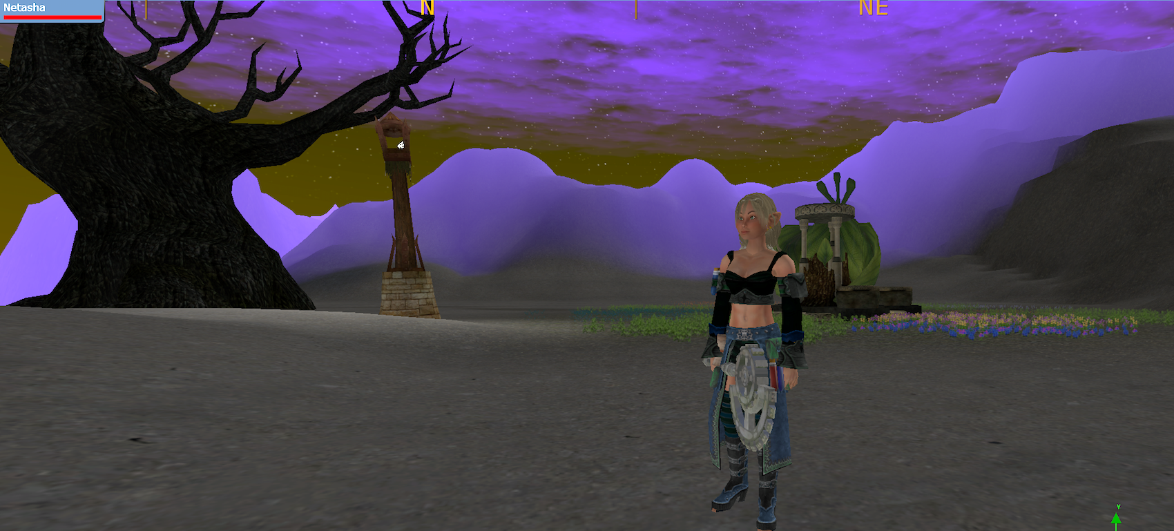 Netasha at the shrine with its fowers surrounded by lifeless Shadow Lands.