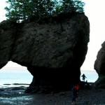 Eroded rocks with humans