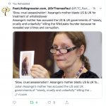 Photo of Julian Assange's mother tweeted by the doctor who believes the journalist will be assassinated.